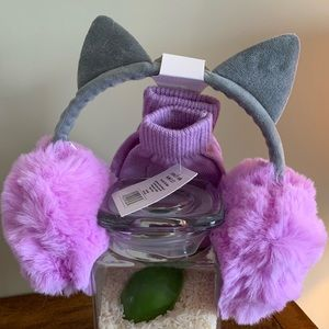 Accessories - Kitten Ear Muffs and Glove Set In Purple